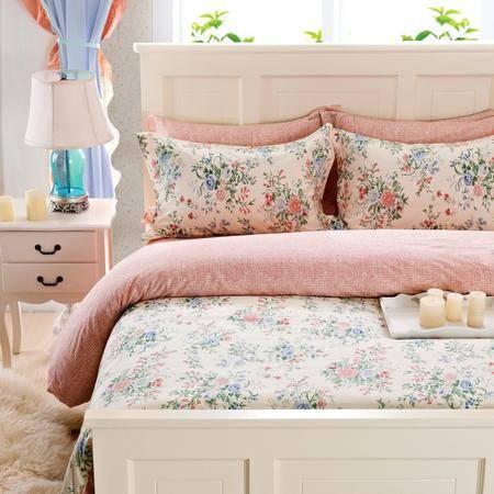 Johnson乔森   高密高密喷气印花全棉四件套 床单式AB版床上四件套 1.5/1.8米床适用