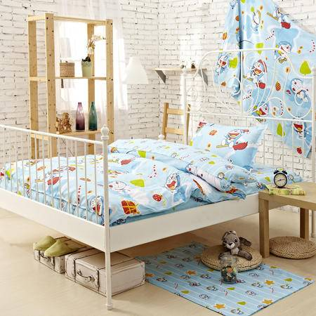 Johnson乔森 哆唻A梦卡通全棉学生三件套 纯棉床上用品三件套 1.2米床用