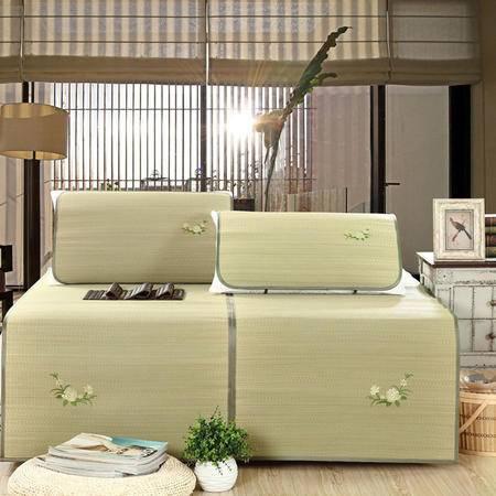 Johnson 乔森 天然补水蔺草席三件套 可折叠夏凉绣花席子 凉席 精品包边 1.5米床