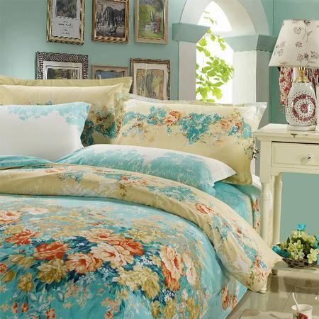 Johnson乔森 全棉喷气印花四件套小清新  AB版纯棉床上四件套 1.5/1.8米床适用