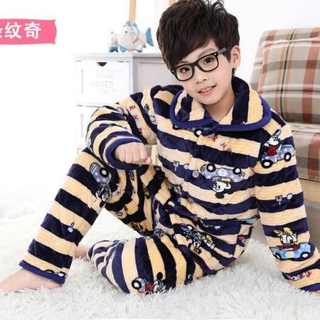 【青田馆】儿童加厚夹棉法兰绒睡衣男女童家居服珊瑚绒保暖棉袄套装