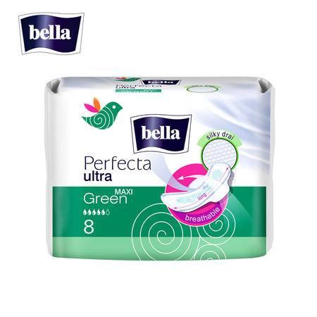欧洲进口Bella贝拉完美系列深绿超薄2mm加长285mm卫生巾8片 网面