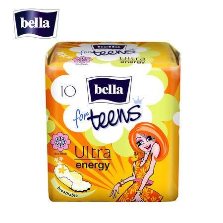 欧洲进口bella 贝拉少女系列活力型超薄2mm日用235mm卫生巾 10片