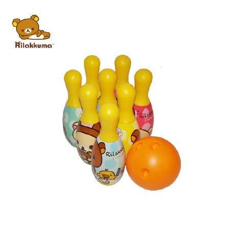 轻松小熊保龄球玩具套装儿童多彩印花卡通大号过家家亲子益智玩具