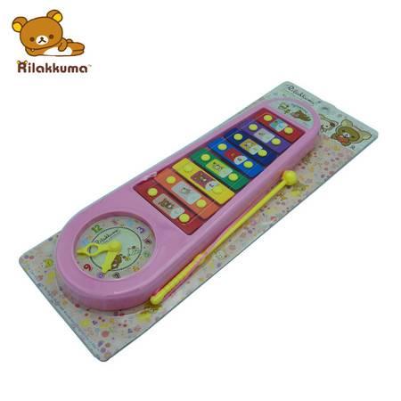 轻松小熊日本卡通品牌环保玩具正版带钟手敲琴玩具早教八音琴