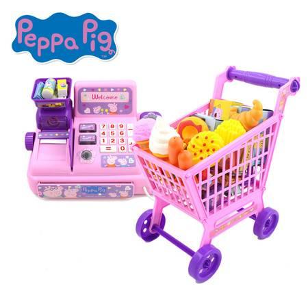 小猪佩奇粉红猪小妹佩佩猪女孩可爱卡通儿童过家家手推车收银机套装