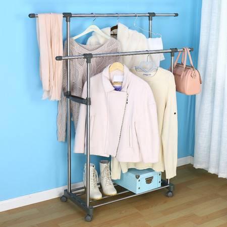 宝优妮 双杆晾衣架 阳台不锈钢晒衣架伸缩移动加厚落地室内挂衣架