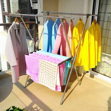 宝优妮 折叠晾晒架 阳台伸缩晾衣架不锈钢室内X型晒衣架落地毛巾架