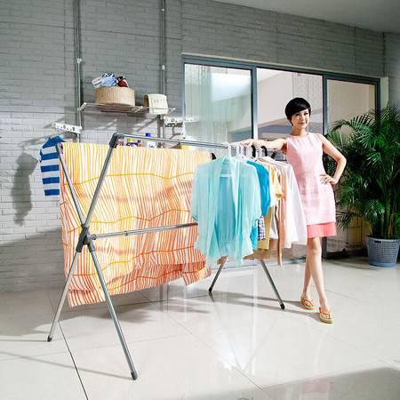 宝优妮 X型晾衣架 不锈钢室内衣架阳台伸缩折叠双杆加厚落地晒衣架