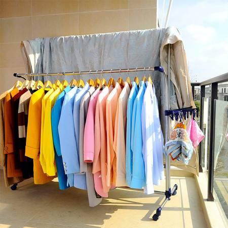 宝优妮 晾衣架落地折叠 晒被架阳台双杆挂衣室外伸缩不锈钢晒衣架