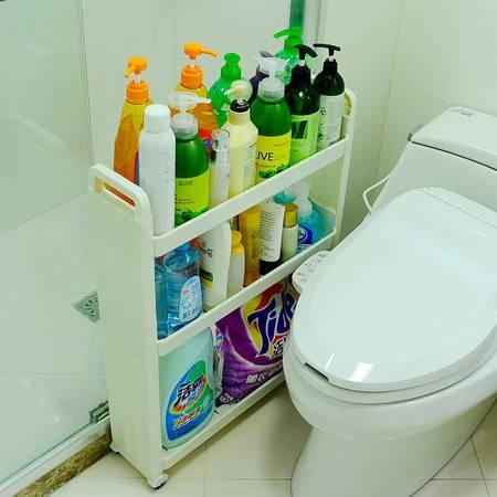 宝优妮 卫生间夹缝收纳架 移动缝隙柜带轮整理塑料架3层浴室置物架