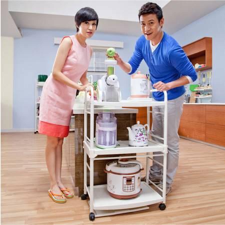 宝优妮 厨房置物架落地 3层烤箱架子电器收纳储物架砧板架微波炉架