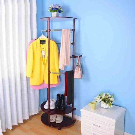 宝优妮门厅复古衣帽架 落地角落架卧室挂衣架玄关多功能创意衣架
