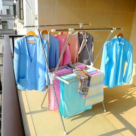宝优妮晾衣架落地折叠 晾衣服架不锈钢X型户外衣服架伸缩带毛巾架