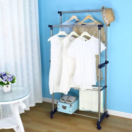 宝优妮室内双杆晾衣架 落地挂衣架阳台外升降不锈钢移动简易衣架