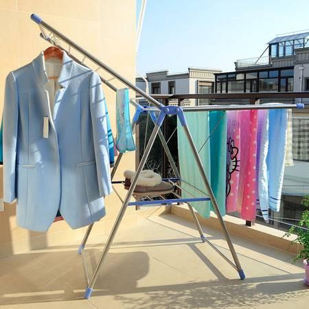 宝优妮折叠不锈钢晾衣架 翼型晒被架落地阳台晒衣架折叠挂衣架
