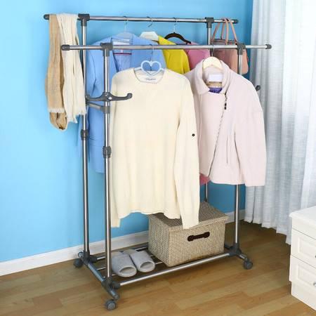 宝优妮移动晾衣架 落地双杆挂衣架不锈钢室内衣服架阳台晒衣架