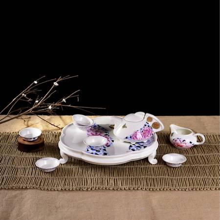 瓷博 景德镇陶瓷茶具9头蝴蝶牡丹花个性泡茶女士适用功夫茶盘套装