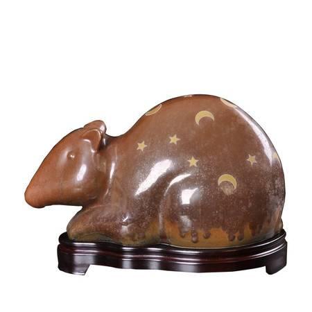 瓷博 景德镇熊钢如鼠年生肖瓷雕财神满天星月装饰工艺品客厅摆件