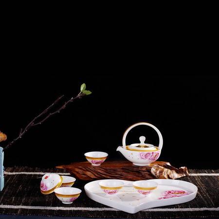 瓷博 景德镇陶瓷8头金边高白釉茶具套装含托盘结婚礼品