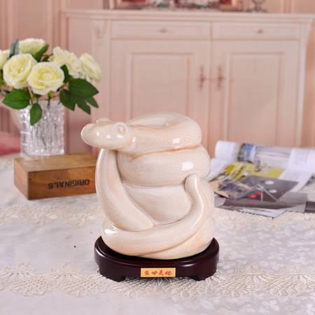 瓷博 景德镇瓷雕工艺品摆件 熊钢如盛世灵蛇 精品艺术家居装饰品