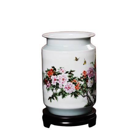 瓷博 景德镇陶瓷创意瓷瓶沈浮名家客厅装饰摆件春风富贵花开蝴蝶