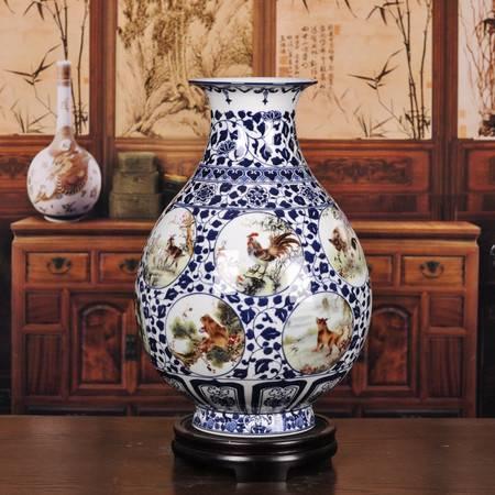 瓷博 福运满堂粉彩12生肖青花陶瓷装饰摆件 江西省陶瓷研究所出品