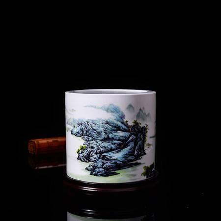 瓷博 景德镇陶瓷大号山水画笔筒中国陶瓷艺术大师汪桂英世外桃源