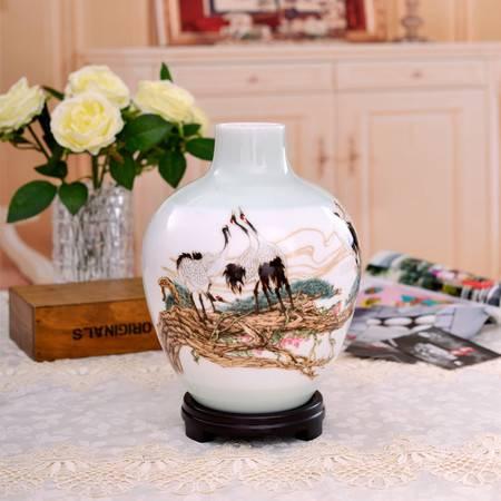 瓷博 景德镇名家瓷器花瓶徐庆庚作品松鹤长春瓷瓶艺术摆件装饰瓶