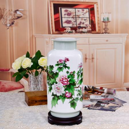 瓷博 景德镇名家陶瓷花瓶芙蓉花摆件江西省陶瓷研究所富贵吉祥图