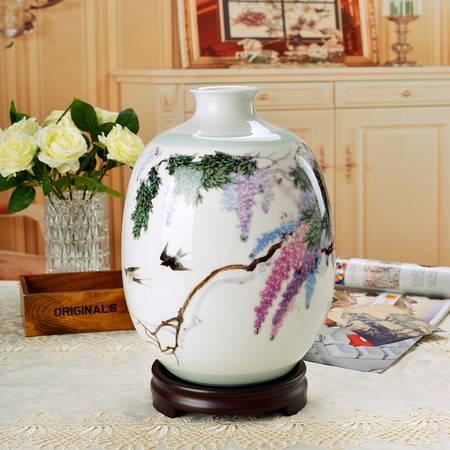 瓷博 景德镇万紫千红花瓶客厅摆件瓷瓶家居装饰工艺品张景寿名家