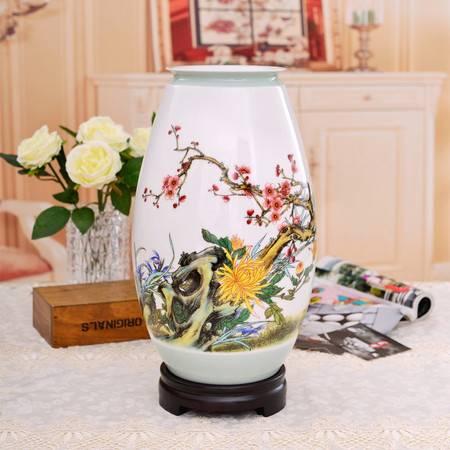 瓷博 景德镇名人瓷器花瓶梅兰竹菊四君雅聚图家居装饰品摆设
