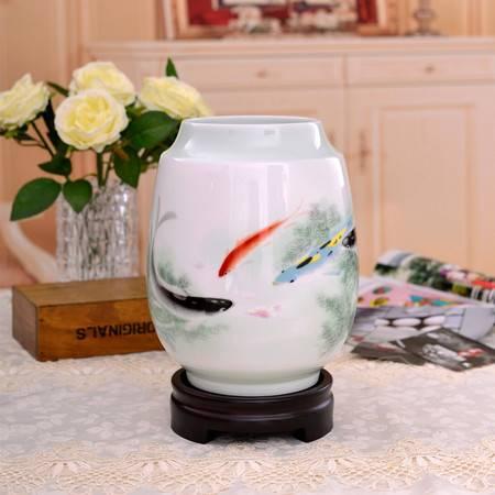 瓷博 景德镇名人陶瓷花瓶年年有余陈庆长大师装饰摆件