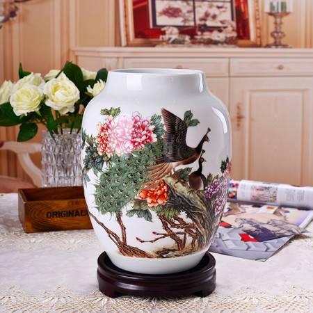 瓷博 景德镇瓷瓶摆件工艺品含底座梁小平作品孔雀牡丹图装饰花瓶