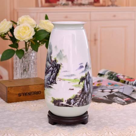 瓷博 景德镇名人名作山水花瓶汪桂英大师世外桃源瓷瓶工艺品摆件