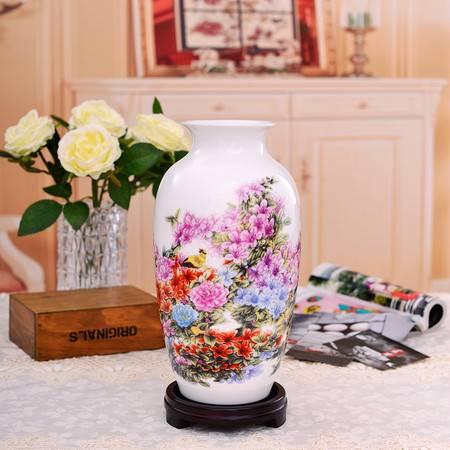 瓷博 景德镇花瓶摆件北京人民大会堂收藏陶瓷名家彭竞强杜鹃迎春