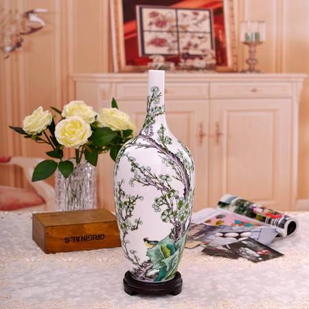 瓷博 景德镇陶瓷现代简约装饰花瓶蓝国华大师春信梅花图瓷瓶礼品