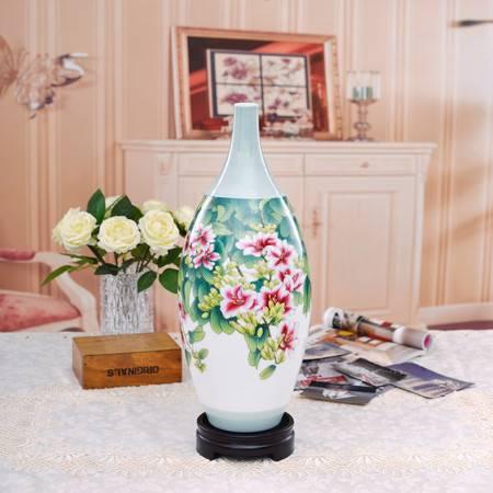 瓷博 景德镇陶瓷花瓶 紫气东来 现代中式花瓶装饰品工艺客厅摆件