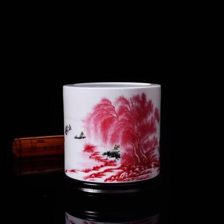 瓷博 景德镇陶瓷器创意大号笔筒摆件家居套装李文跃名家江南好