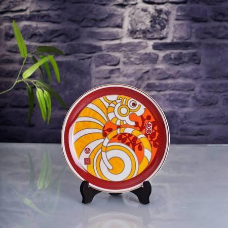 瓷博 景德镇创意陶瓷生肖瓷盘彩绘吉虎献瑞刘远长监制家居摆件礼