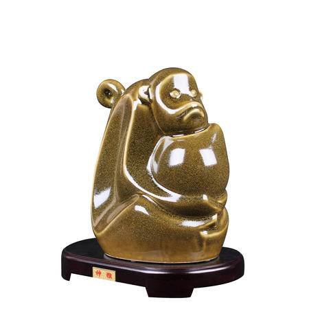瓷博 2016猴年生肖陶瓷摆件吉祥物 熊钢如神猴瓷雕装饰工艺品收藏