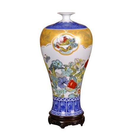 瓷博 景德镇陶瓷花瓶大摆件 彭竞强龙凤呈祥花开富贵青花梅瓶装饰