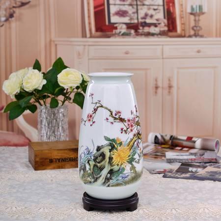 瓷博 景德镇陶瓷花瓶摆件装饰品家居插花瓷瓶李少景四君雅聚图