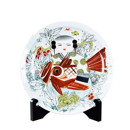 瓷博 景德镇陶瓷彩盘家居鱼装饰摆件施于人大师作品富贵有余坐盘