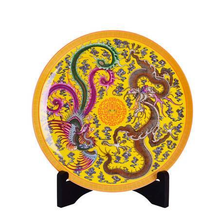 瓷博 景德镇陶瓷婚庆摆件工艺品瓷盘 唐自强龙凤呈祥结婚礼品