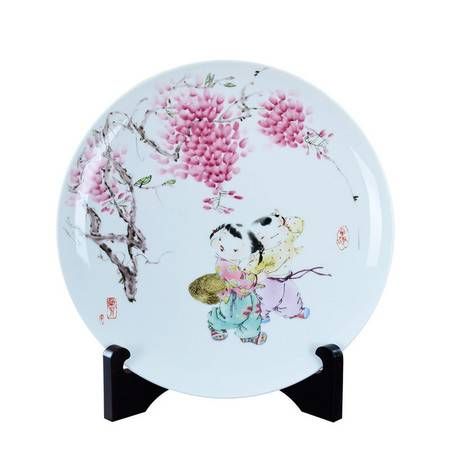 瓷博 景德镇陶瓷创意工艺品摆件吴兰芳婴戏图童趣装饰瓷挂盘中式