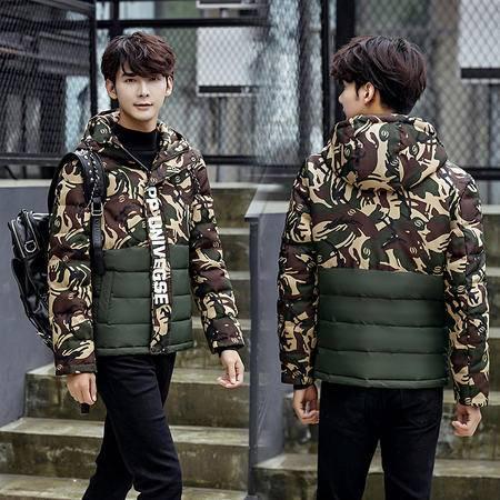 吉普盾 男士羽绒服 秋冬青年修身连帽羽绒服 韩版时尚迷彩羽绒 外套