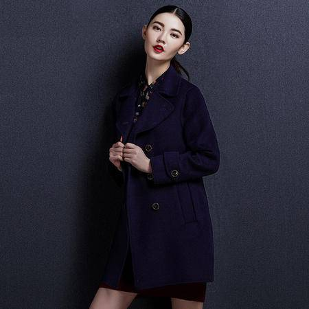 安柘娜 毛呢外套女中长款双面绒羊毛大衣双排扣大衣 K1642