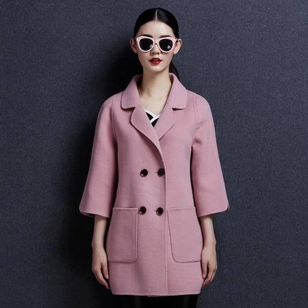 安柘娜 纯色呢子大衣韩版毛呢外套女中长款 双面绒羊毛大衣 K1643