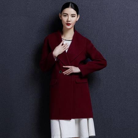 安柘娜 中长款毛呢外套纯色呢子女装 双面绒羊毛大衣 K1640